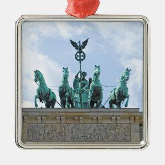 Brandenburg Gate - Brandenburger Tor Silver-Colored Square Ornament