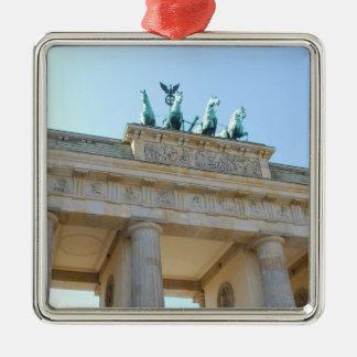 Brandenburger Tor, Berlin Silver-Colored Square Ornament