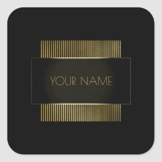 Branding Black Gold Minimal Name Geometry Luxury Square Sticker
