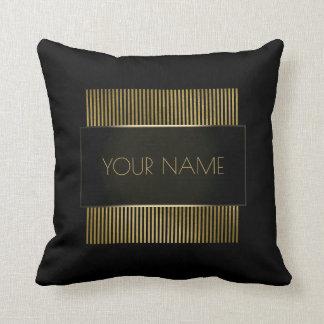Branding Black Gold Minimal Name Geometry Luxury Throw Pillow