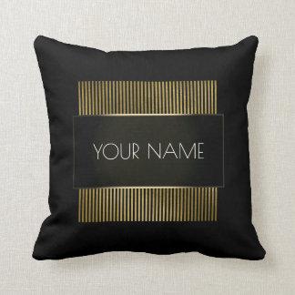 Branding Black Gold White Minimal Geometry Luxury Throw Pillow