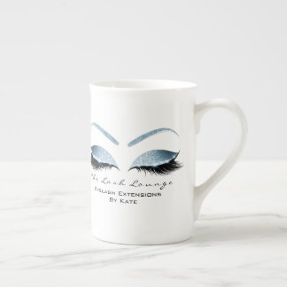 Branding Lashes Extension Beauty Studio Blue Glitt Tea Cup