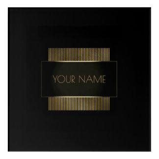 Branding Logo Black Gold Frame Minimal Geometry Acrylic Wall Art
