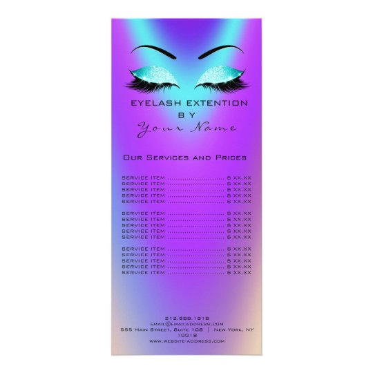Branding Price List Lashes Extension Blue Pink Rack Card