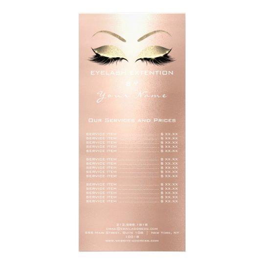 Branding Price List Lashes Extension Blush White Rack Card