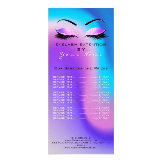 Branding Price List Lashes Extension Miami Ocean Rack Card