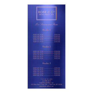 Branding Price List Rose Gold Blue Glam Frame Rack Card