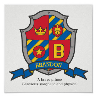 Brandon boys name meaning heraldry shield letter B Poster