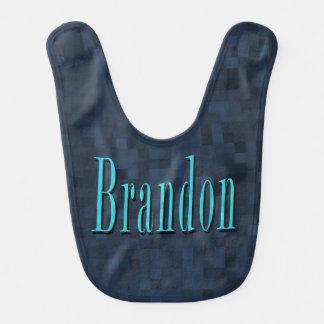 Brandon, Name Blue Logo Baby Boys Blue Bib