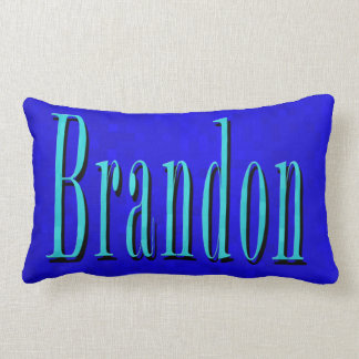Brandon Name Blue Logo, On Blue Mosaic Lumbar Pillow