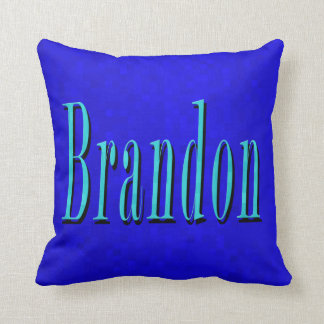 Brandon Name Blue Logo, On Blue Mosaic Throw Pillow