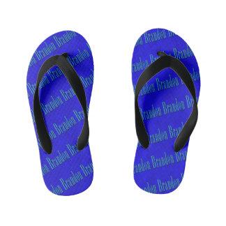 Brandon Name Logo On Blue Mosaic, Kid's Flip Flops