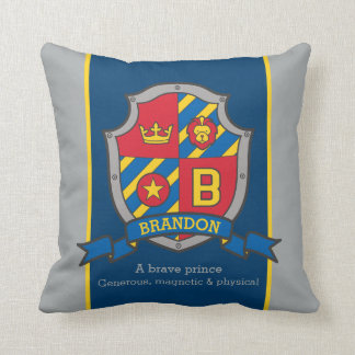 Brandon name meaning shield red blue pillow