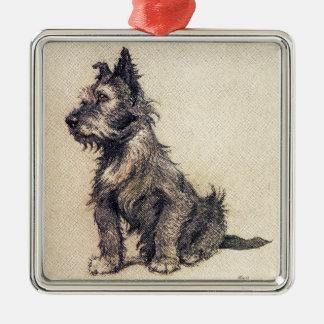 Brandy Silver-Colored Square Ornament
