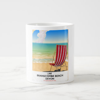 Branscombe Beach Devon vintage seaside poster Large Coffee Mug