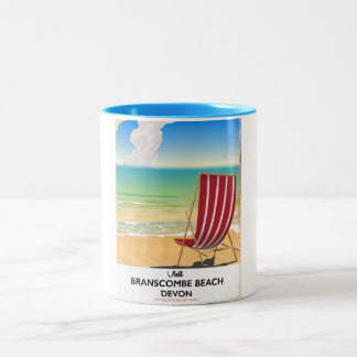 Branscombe Beach Devon vintage seaside poster Two-Tone Coffee Mug