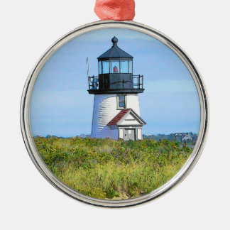Brant Point Lighthouse Vintage Nantucket Silver-Colored Round Ornament