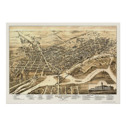 Brantford (ON) Canada  city photos : Brantford, ON, Canada Panoramic Map 1875 Posters | Zazzle