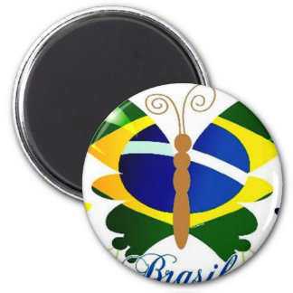 BRASIL BUTTERFLY 2 INCH ROUND MAGNET