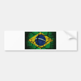 Brasil Flag Cracked. Bumper Sticker