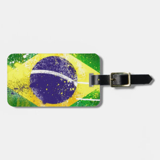 Brasil flag paint. luggage tag
