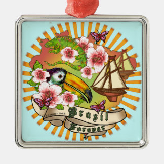 Brasil Forever premium square ornament