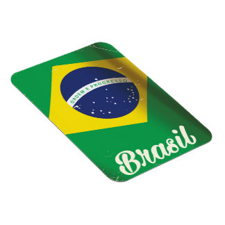 Brasil national flag vintage travel poster magnet