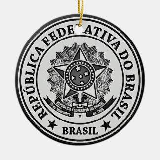 Brasil Round Emblem Ceramic Ornament