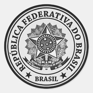 Brasil Round Emblem Classic Round Sticker