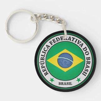 Brasil Round Emblem Keychain