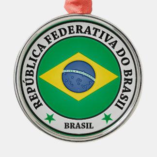 Brasil Round Emblem Metal Ornament