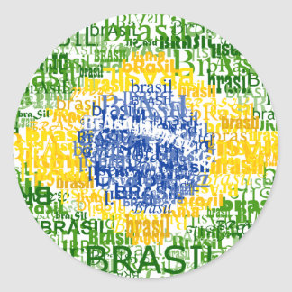 Brasil Text Flag Classic Round Sticker
