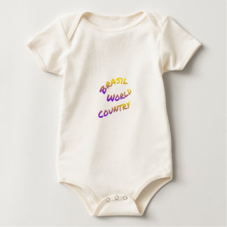 Brasil world country, colorful text art baby bodysuit
