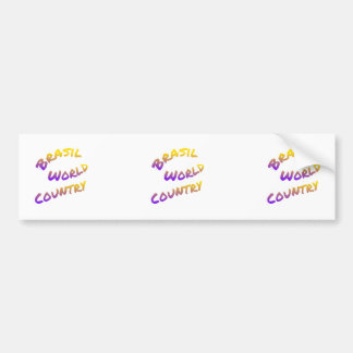 Brasil world country, colorful text art bumper sticker