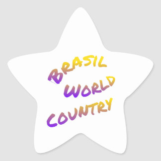 Brasil world country, colorful text art star sticker