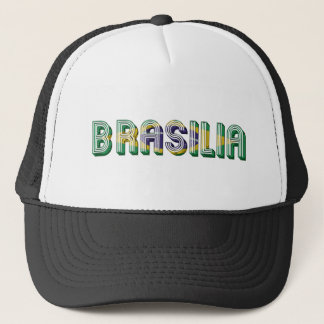 Brasilia Brasil Brazil Typography Flag Colors Trucker Hat
