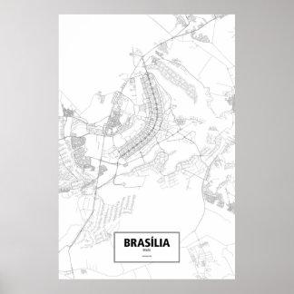 Brasília, Brazil (black on white) Poster
