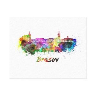 Brasov skyline in watercolor canvas print
