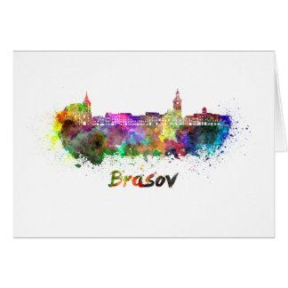Brasov skyline in watercolor card