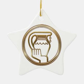 Brass and Copper Aquarius Zodiac Astrology Ceramic Star Ornament