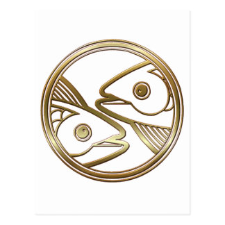 Brass and Copper Pisces Zodiac Astrology Postcard