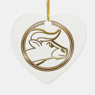 Brass and Copper Taurus Zodiac Astrology Ceramic Ornament