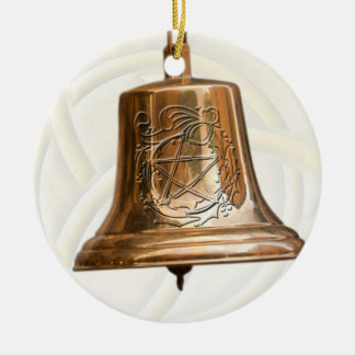 Brass Bell with Pentacle & Wreath Round Ceramic Ornament