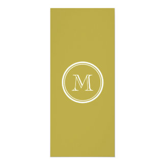 Brass High End Colored Monogrammed 4x9.25 Paper Invitation Card