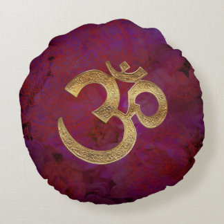 brass om purple round pillow yoga meditation india