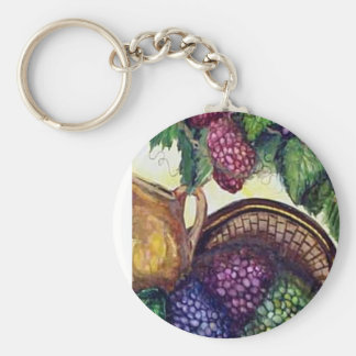 Brass Pitcher & Grapes watercolor art Basic Round Button Keychain