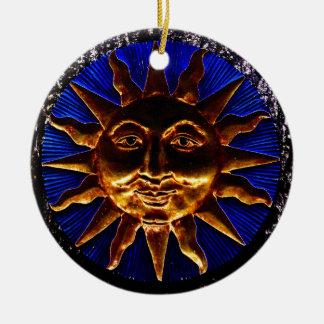 Brass Sun Plaque Ceramic Ornament