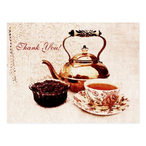 brass tea-pot, a cup of tea and jam tank you post card