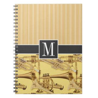 Brass Trumpet; trumpets Spiral Note Books