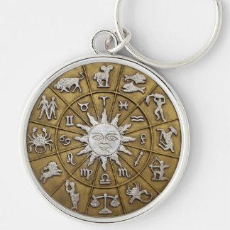 Brass Zodiac Wheel Silver-Colored Round Keychain